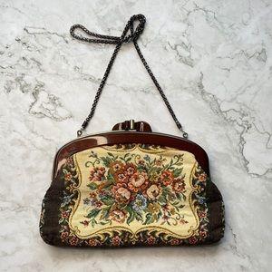 VINTAGE | Floral tapestry shoulder bag